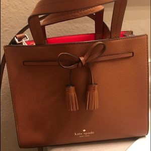 brown with bow kate spade satchel